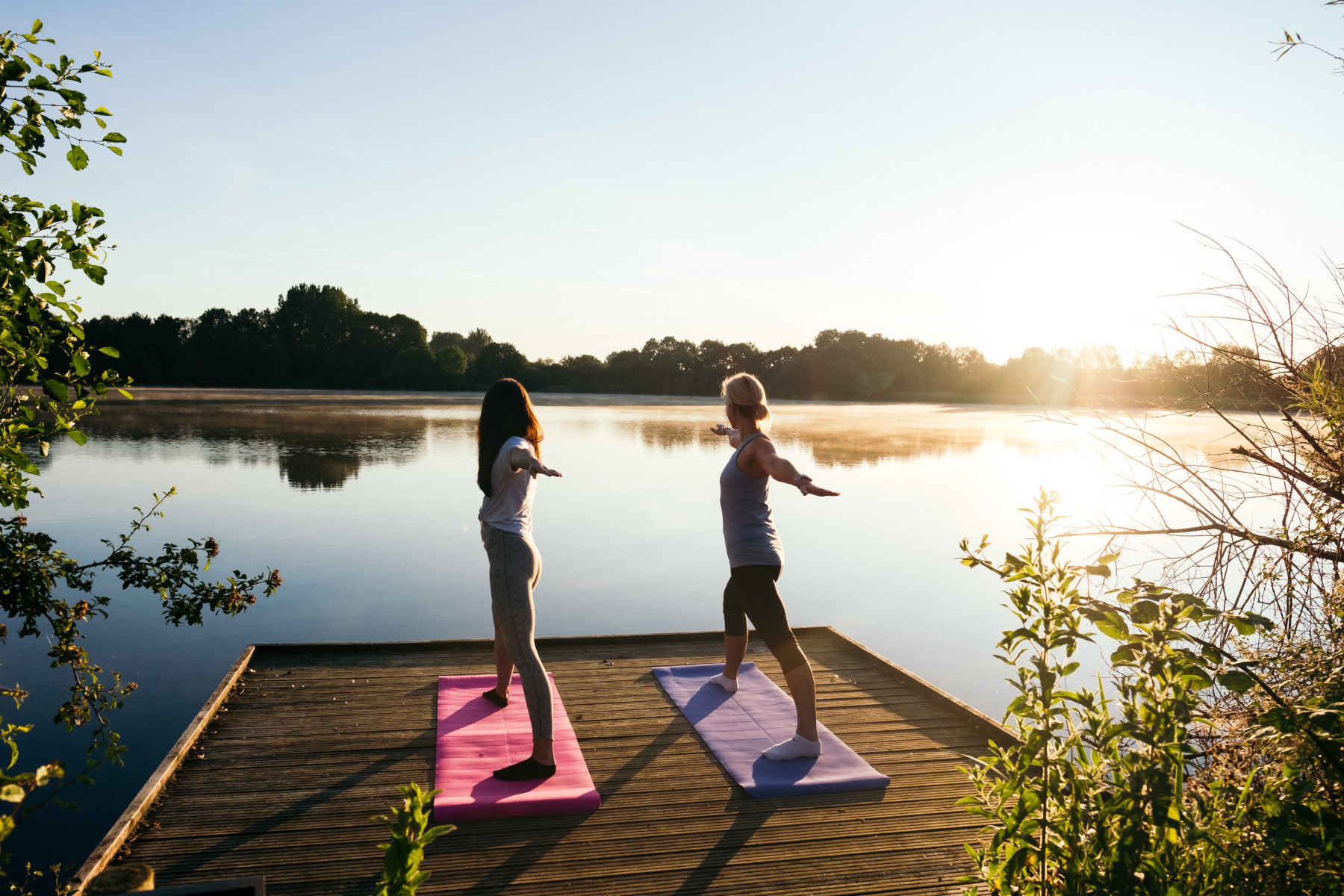 Practicing yoga at Cotswold Water Park