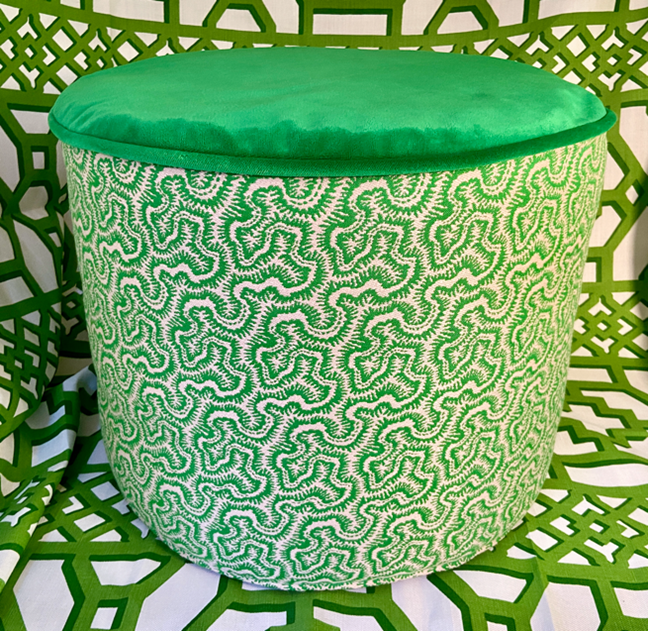 Abbey Green Ottoman – available to buy soon from Astman Taylor